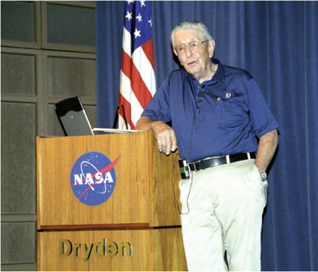 Scott Crossfield speaking at the Centennial of Flight Colloquium held at the NASA Dryden Flight Research Center in October, 2003. Photo by Tom Tschida/NASA/courtesy of nasaimages.org.